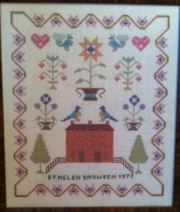 Cross stitch by Fred's late wife Helen. Given to me before we moved. A cherished possession in the Anderson home.